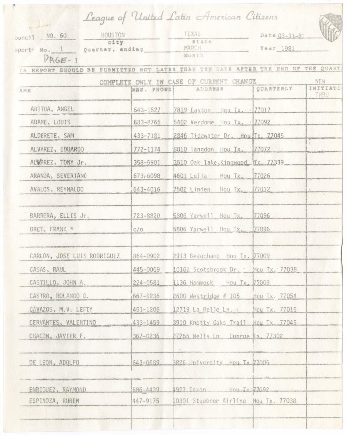 List of members of Houston LULAC Council Number Sixty, 1981