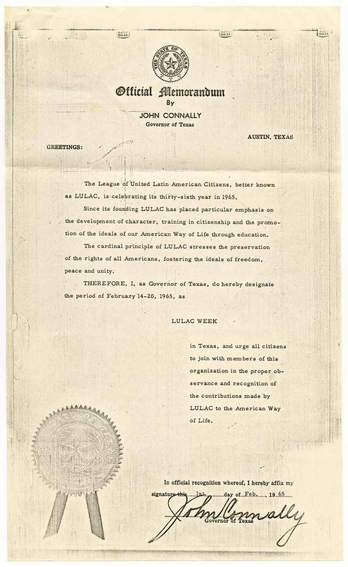 Official Memorandum By John Connally Governor Of Texas Designating