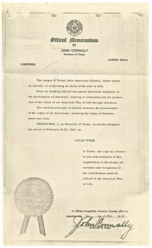 Primary view of object titled '[Official Memorandum by John Connally, Governor of Texas, designating LULAC Week, February 1, 1965]'.