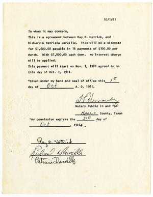 Primary view of object titled '[Agreement between Ray D. Hetrick and Richard and Patricia Darville, October 1, 1981]'.