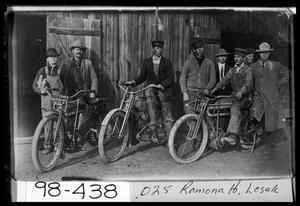 Primary view of object titled 'Motorcycles in Front of Blacksmith Shop in Avoca'.