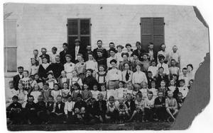 Primary view of object titled '[1908 School Picture of Faculty & Students]'.