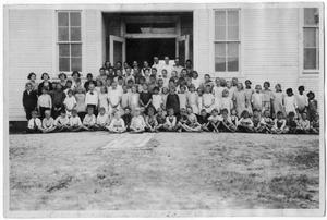 Primary view of object titled '[Danevang School Class in Front of School Building]'.