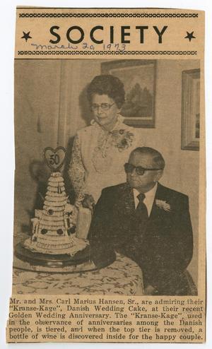 Mr. and Mrs. Carl Marius Hansen Anniversary Newspaper Photograph, March 20, 1973