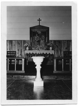 Primary view of object titled '[Alter and Baptismal Font of Ansgar Church of Danevang]'.