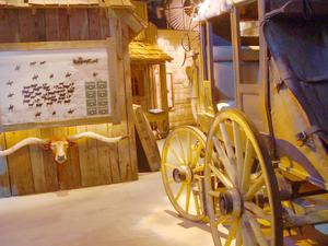 Primary view of object titled '[Museum exhibit including stagecoach]'.