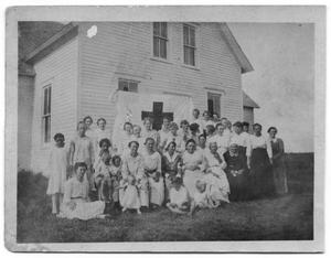 Primary view of object titled '[Group of Women in Front of Building]'.