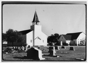 Primary view of object titled '[View of Danevang Lutheran Church from Cemetery]'.