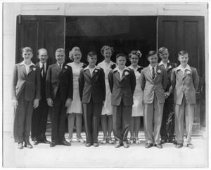 Primary view of object titled '[Confirmation Class of 1945, Danevang Lutheran Church]'.