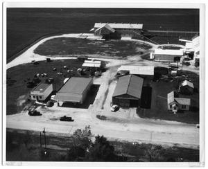 Primary view of object titled '[Closer Aerial View of Danevang Farmers Co-op]'.