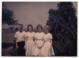 Primary view of object titled '[1963 Confirmands Posing Outdoors]'.