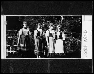 Primary view of object titled '[Young Women in Danish Folk Dance Costumes]'.