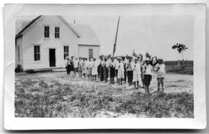Primary view of object titled '[Gym Class in the Danevang School Yard]'.