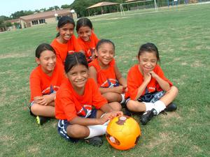 Primary view of object titled '[Girls pose with soccer ball]'.