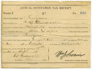 Primary view of object titled 'Annual Occupation Tax Recepit Number 230'.