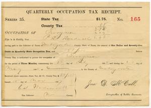 Primary view of object titled 'Quarterly Occupation Tax Receipt Number 165'.