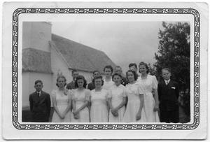 Primary view of object titled '[Confirmation Class in Front of Old Church]'.