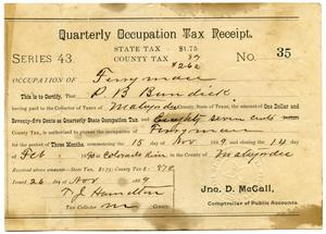 Quarterly Occupation Tax Receipt Number 35