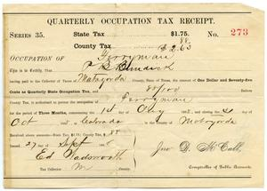 Primary view of object titled 'Quarterly Occupation Tax Receipt Number 273'.