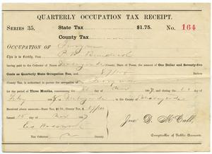 Primary view of object titled 'Quarterly Occupation Tax Receipt Number 164'.