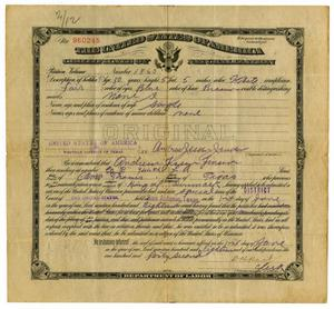 Primary view of object titled 'Andrew Jensen's Naturalization Papers'.