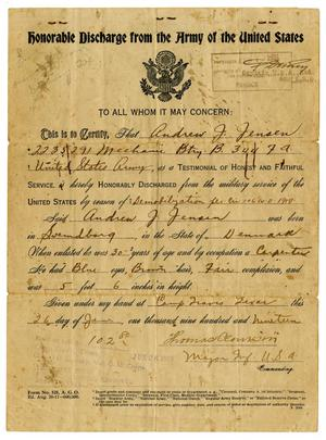 Primary view of object titled '[Andrew J. Jensen's Honorable Discharge from the Army of the United States]'.