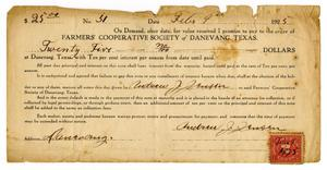 Primary view of object titled '[Andrew Jensen's Promissory Note to Danevang Farmer's Cooperative]'.