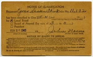 Primary view of object titled 'Notice of Classification'.