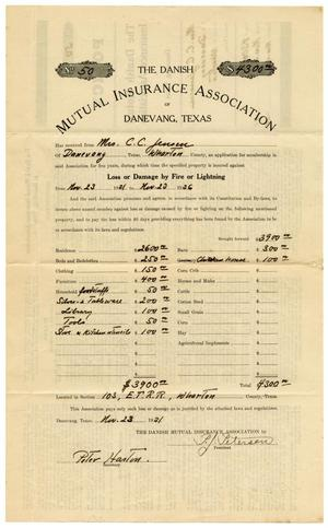 Primary view of object titled '[Mrs. C. C. Jensen's Insurance Policy]'.