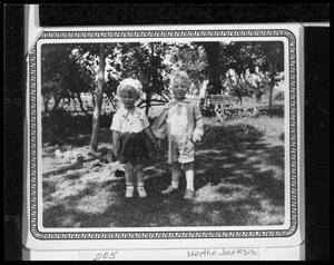 Primary view of object titled 'Lawrence and Alvin in Bedstemor's Garden'.