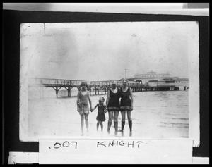 Primary view of object titled '[Rasmussen Family at the Palacios Pavillion Beach]'.
