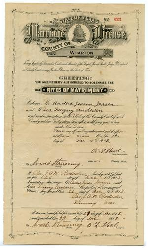 Primary view of object titled 'Andrew & Dagny Jensen Marriage License'.