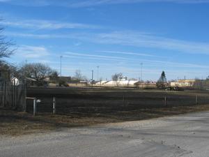 Football field after fire