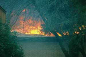 Primary view of object titled 'Flames over Methodist Church'.