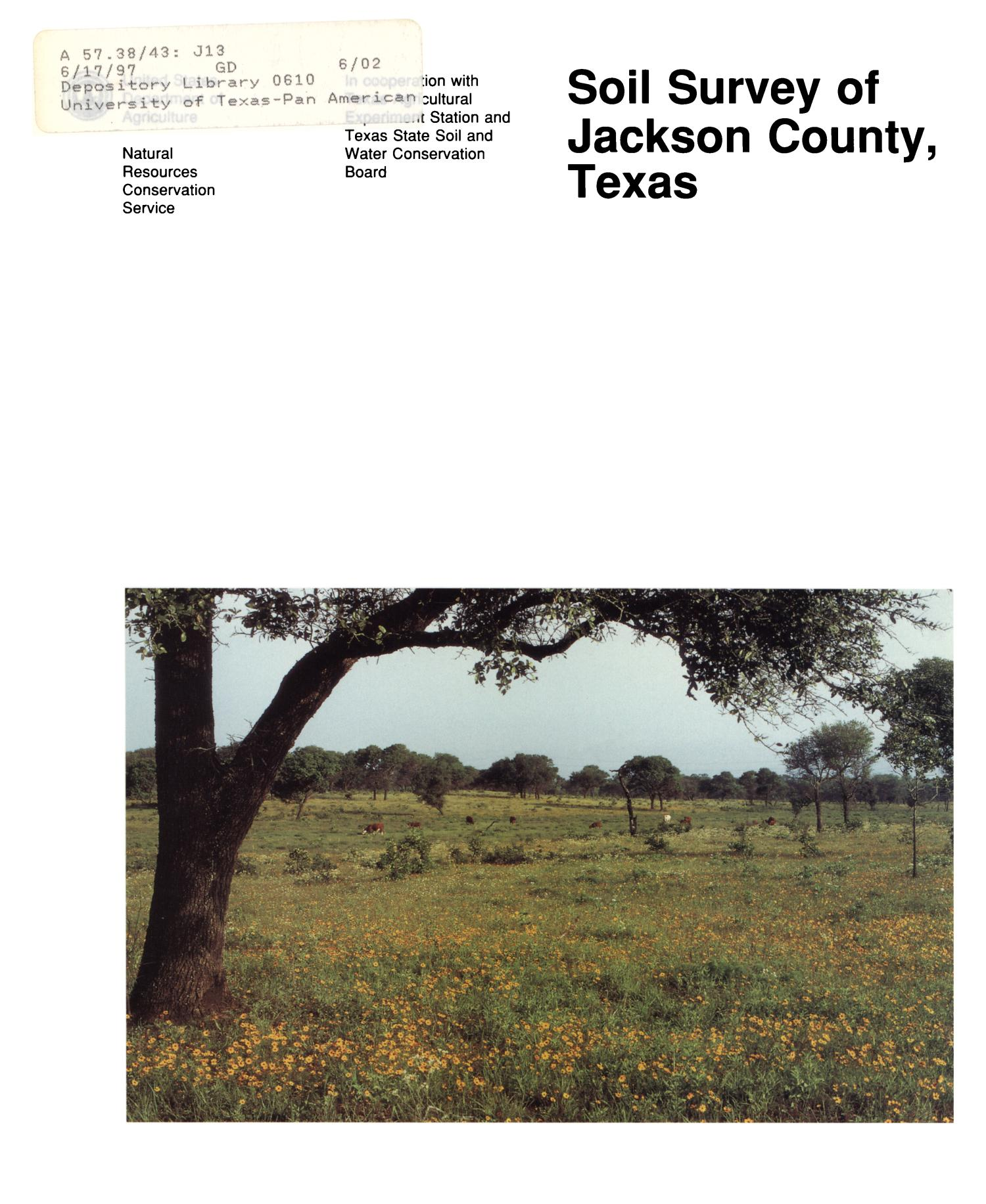 Soil Survey of Jackson County, Texas                                                                                                      Front Cover
