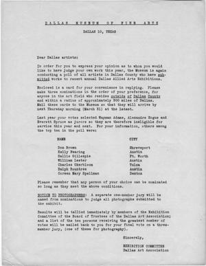 Primary view of object titled '[Letter from DAA Exhibition Committee to Dallas artists, 1949]'.