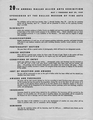 Primary view of object titled '20th Annual Dallas Allied Arts Exhibition [Entry Rules]'.