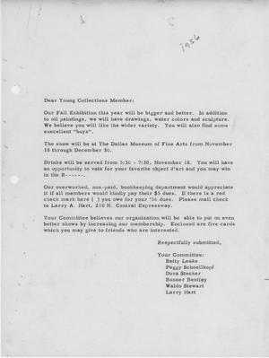 Primary view of object titled '[Letter from Young Collection Committee to Members - 1956]'.