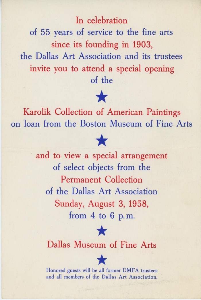 Invitation to a special opening of the karolik collection of invitation to a special opening of the karolik collection of american painting exhibition stopboris Image collections