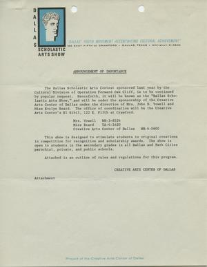 Primary view of object titled 'Announcement of Importance [Dallas Scholastic Arts Show]'.