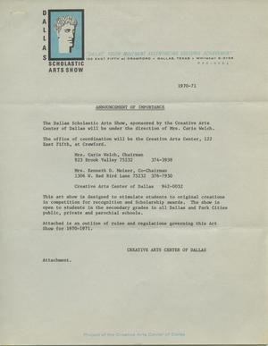 Primary view of object titled 'Announcement of Importance [Scholastic Art Exhibition, 1971]'.