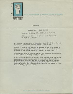 Primary view of object titled 'Awards Tea announcement [Scholastic Art Exhibition, 1971]'.