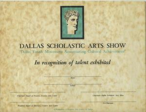 Primary view of object titled 'Dallas Scholastic Arts Show [Certificate]'.