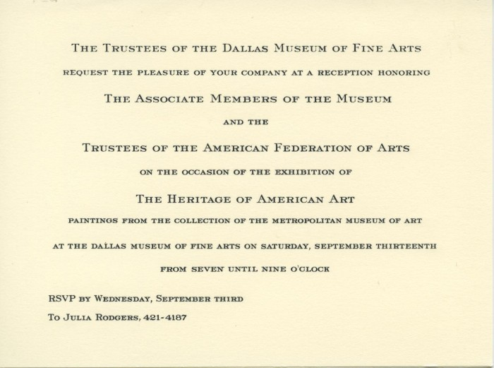 Reception invitation for the exhibition the heritage of american reception invitation for the exhibition the heritage of american art stopboris Choice Image