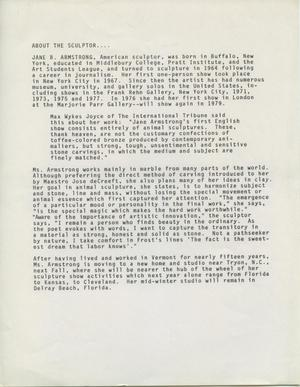 Primary view of object titled 'About the Sculptor....  [Jane B. Armstrong]'.