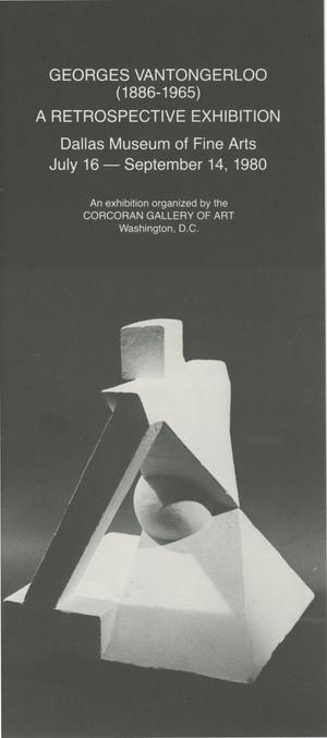 Primary view of object titled 'Georges Vantongerloo (1886-1965) A Retrospective Exhibition'.