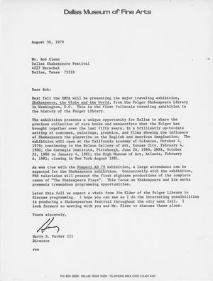 Primary view of object titled '[Letter from Harry S. Parker to Bob Glenn - 1979-08-30]'.
