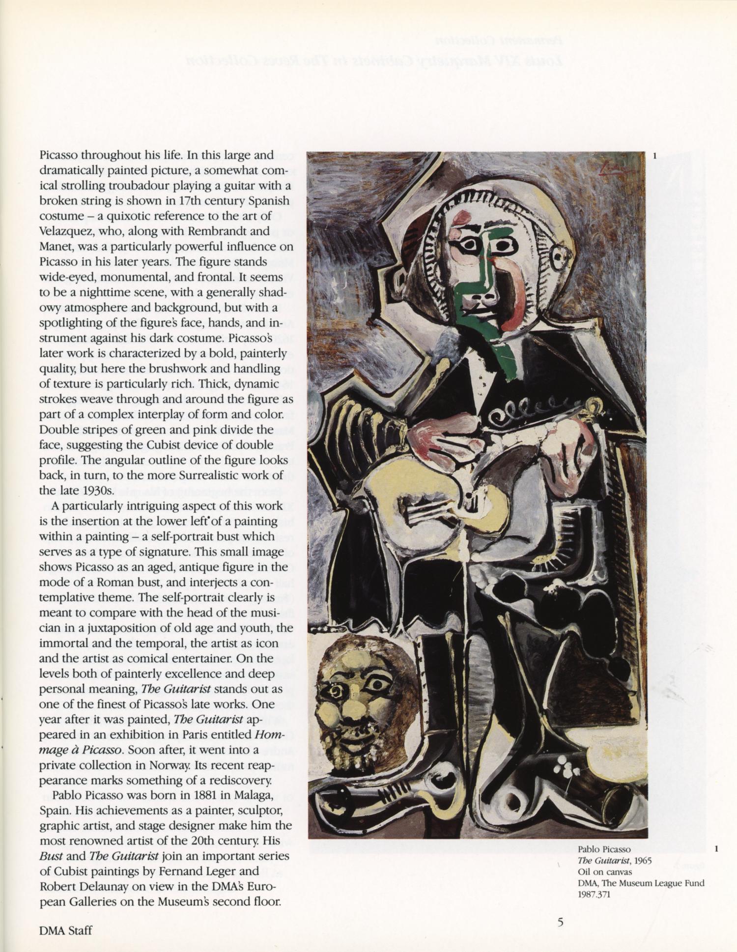 pablo picasso the guitarist 1965
