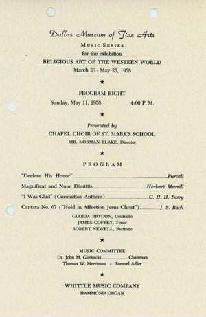 Religious Art of the Western World [Program, Chapel Choir of St. Mark's School]