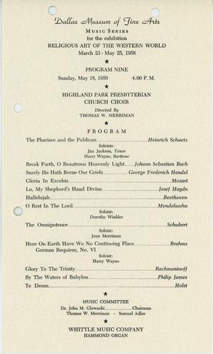Religious Art of the Western World [Program, Highland Park Presbyterian Church Choir]